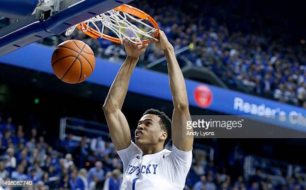 Skal Labissiere of the Kentucky Wildcats dunks the ball during the game against the Wright State Raiders at Rupp Arena on November 20 2015 in...