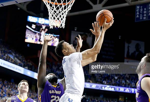 Skal Labissiere of the Kentucky Wildcats shoots the ball during the game against the Albany Great Danes at Rupp Arena on November 13 2015 in...