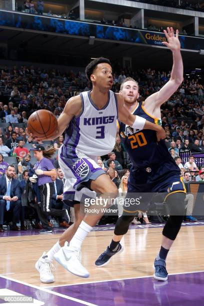 Skal Labissiere of the Sacramento Kings drives to the basket during the game against the Utah Jazz on March 29 2017 at Sleep Train Arena in...