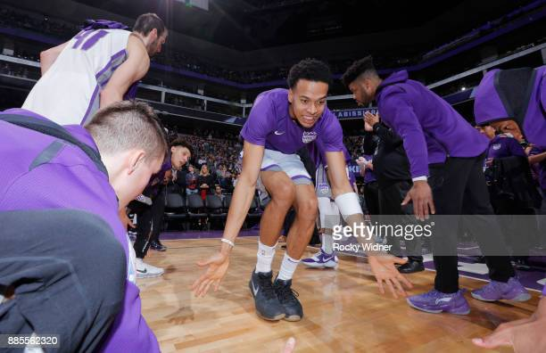 Skal Labissiere of the Sacramento Kings gets introduced into the starting lineup against the Milwaukee Bucks on November 28 2017 at Golden 1 Center...