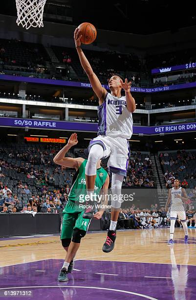 Skal Labissiere of the Sacramento Kings goes up for a lay up during a preseason game against the Maccabi Haifa on October 10 2016 at Golden 1 Center...