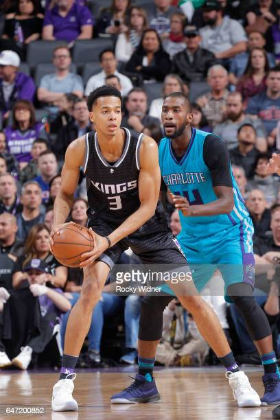 Skal Labissiere of the Sacramento Kings handles the ball against Michael KiddGilchrist of the Charlotte Hornets on February 25 2017 at Golden 1...