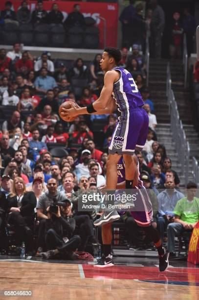 Skal Labissiere of the Sacramento Kings handles the ball against the LA Clippers on March 26 2017 at STAPLES Center in Los Angeles California NOTE TO...