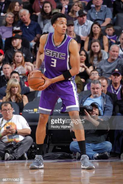 Skal Labissiere of the Sacramento Kings handles the ball against the Houston Rockets on April 9 2017 at Golden 1 Center in Sacramento California NOTE...