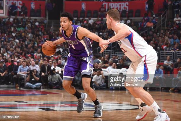 Skal Labissiere of the Sacramento Kings handles the ball against the Los Angeles Clippers on April 12 2017 at STAPLES Center in Los Angeles...