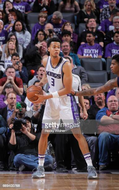 Skal Labissiere of the Sacramento Kings handles the ball against the Phoenix Suns on April 11 2017 at Golden 1 Center in Sacramento California NOTE...