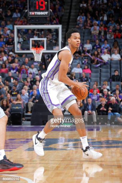 Skal Labissiere of the Sacramento Kings handles the ball against the San Antonio Spurs during the preseason game on October 2 2017 at Golden 1 Center...