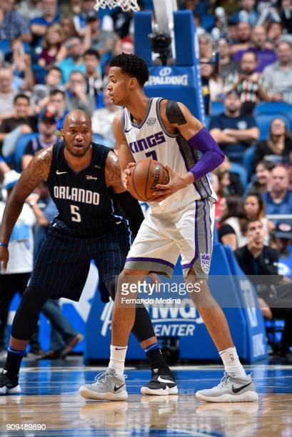 Skal Labissiere of the Sacramento Kings handles the ball against the Orlando Magic on January 23 2018 at Amway Center in Orlando Florida NOTE TO USER...