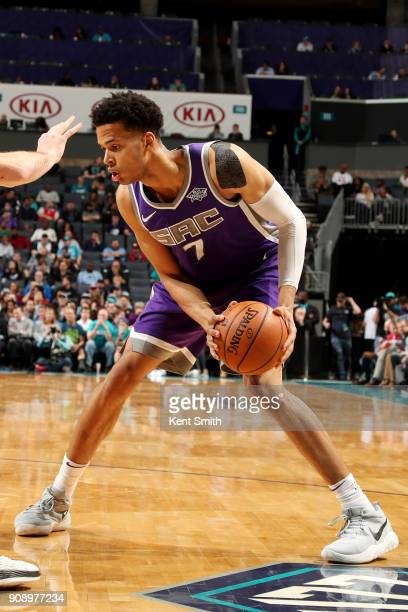 Skal Labissiere of the Sacramento Kings handles the ball during the game against the Charlotte Hornets on January 22 2018 at Spectrum Center in...