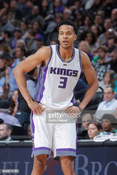 Skal Labissiere of the Sacramento Kings looks on during the game against the Denver Nuggets on February 23 2017 at Golden 1 Center in Sacramento...