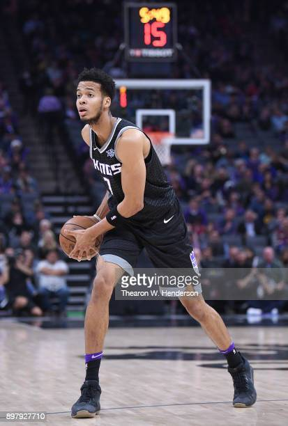 Skal Labissiere of the Sacramento Kings looks to pass the ball against the Phoenix Suns during an NBA basketball game at Golden 1 Center on December...
