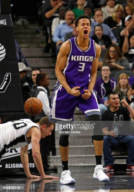 Skal Labissiere of the Sacramento Kings reacts after getting called for a charge on David Lee of the San Antonio Spurs at ATT Center on March 8 2017...