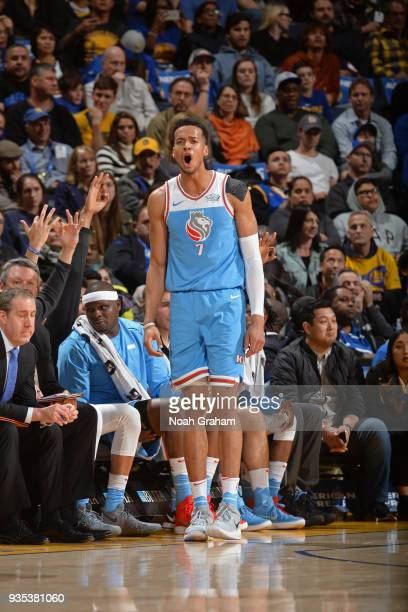 Skal Labissiere of the Sacramento Kings reacts during the game against the Golden State Warriors on March 16 2018 at ORACLE Arena in Oakland...