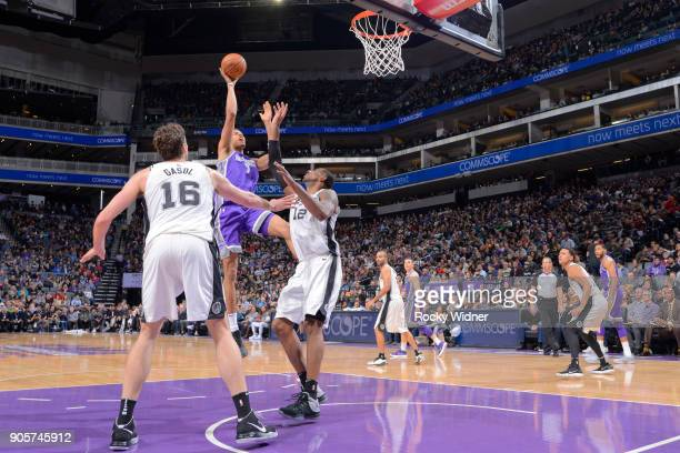Skal Labissiere of the Sacramento Kings shoots against the San Antonio Spurs on January 8 2018 at Golden 1 Center in Sacramento California NOTE TO...