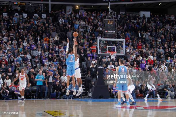 Skal Labissiere of the Sacramento Kings shoots game winning 3point shot during game against the New York Knicks on March 4 2018 at Golden 1 Center in...