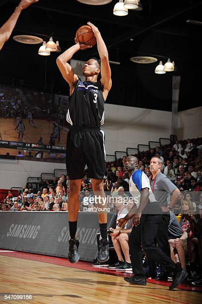 Skal Labissiere of the Sacramento Kings shoots the ball against the Atlanta Hawks during the 2016 NBA Las Vegas Summer League game on July 13 2016 at...