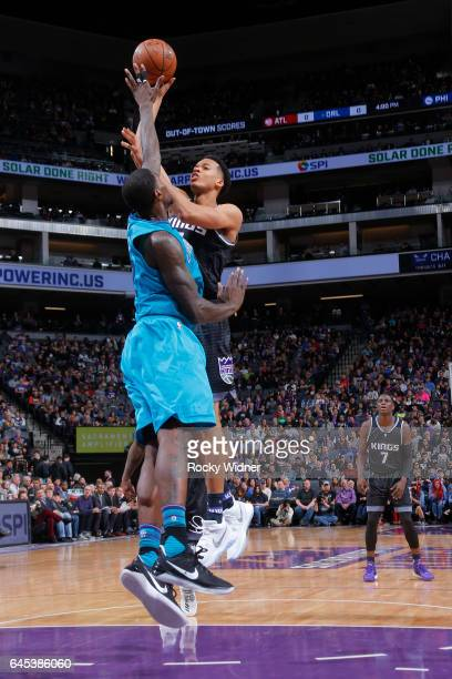 Skal Labissiere of the Sacramento Kings shoots the ball against the Charlotte Hornets during the game on February 25 2017 at Golden 1 Center in...