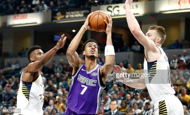 Skal Labissiere of the Sacramento Kings shoots the ball against the Indiana Pacers at Bankers Life Fieldhouse on October 31 2017 in Indianapolis...