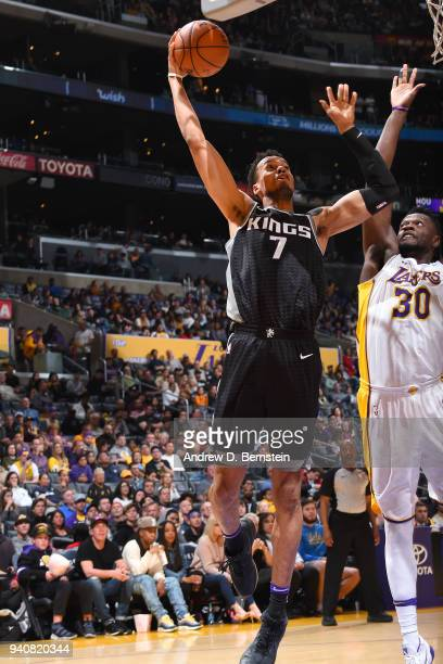 Skal Labissiere of the Sacramento Kings shoots the ball against the Los Angeles Lakers on April 1 2018 at STAPLES Center in Los Angeles California...