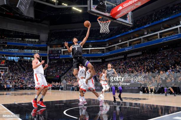 Skal Labissiere of the Sacramento Kings shoots the ball during the game against the Toronto Raptors on December 10 2017 at Golden 1 Center in...