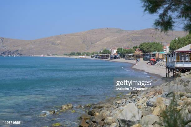 skala eresos (skala eresou), lesvos, greece - eressos is the birthplace of the poet sappho - lesbos stock pictures, royalty-free photos & images