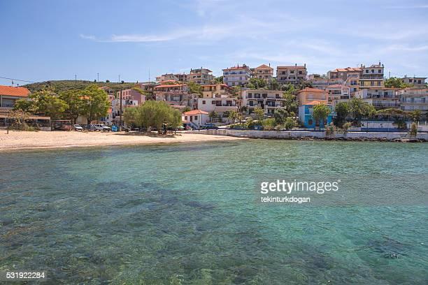 Skala marion village beach of thassos island at kavala greece