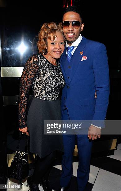 Skam Artist Nick Cannon and his mother Beth Hackett arrive at 1 OAK Nightclub at The Mirage Hotel Casino for a guest DJ set on January 6 2015 in Las...