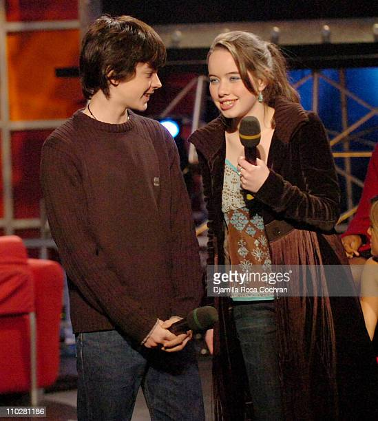 Skandar Keynes and Anna Popplewell during Anna Popplewell and Skandar Keynes of The Chronicles of Narnia Visit Fuse's Daily Download December 9 2005...