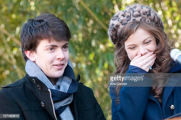 Skandar Keynes and Georgie Henley speak during the Smithsonian's National Zoo Lion Cub naming ceremony at Smithsonian National Zoological Park on...