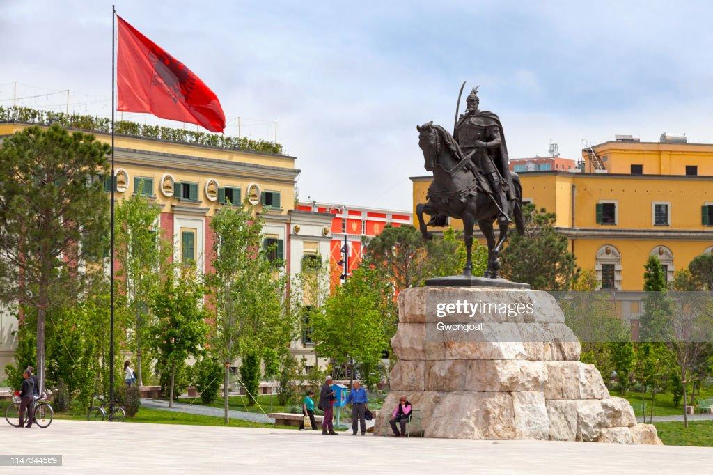 Skanderbeg Monument in Tirana : Stock Photo