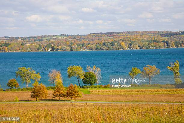 skaneateles lake seen from above, finger lakes - skaneateles lake stock pictures, royalty-free photos & images