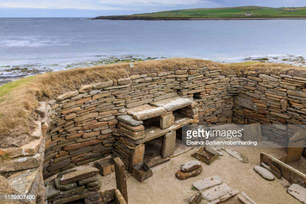 skara brae neolithic settlement in orkney islands, scotland, europe - skara brae stock photos and pictures