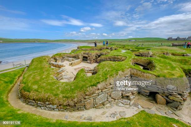 skara brae, orkney islands, scotland - stone age stock photos and pictures