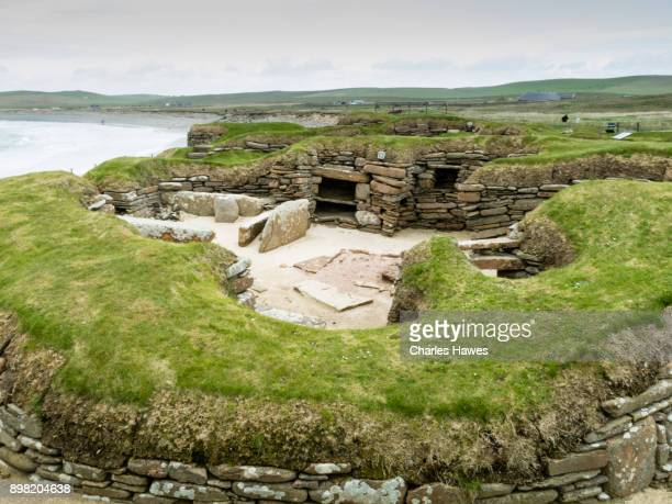 skara brae, the orkney islands archaeology - may - skara brae stock photos and pictures