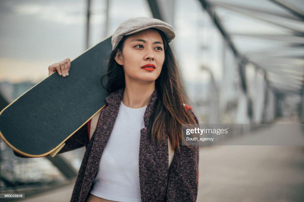 Skate Frau : Stock-Foto