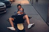 Skateboard ride for little boy