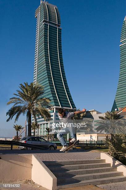 Skateboarder and Bahrain Financial harbour