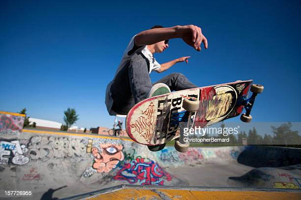 Skateboarder at a skate park