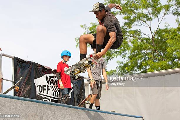 Skateboarder catches some air during the 2011 Vans Warped Tour at the Marcus Amphitheater on July 19 2011 in Milwaukee Wisconsin