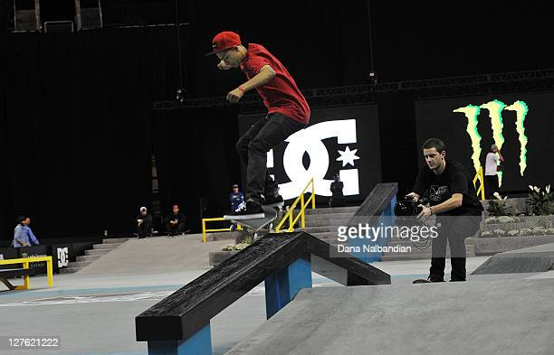 Skateboarder Chaz Ortiz at the Street League Skateboarding DC Pro Tour at Key Arena on May 8 2011 in Seattle Washington