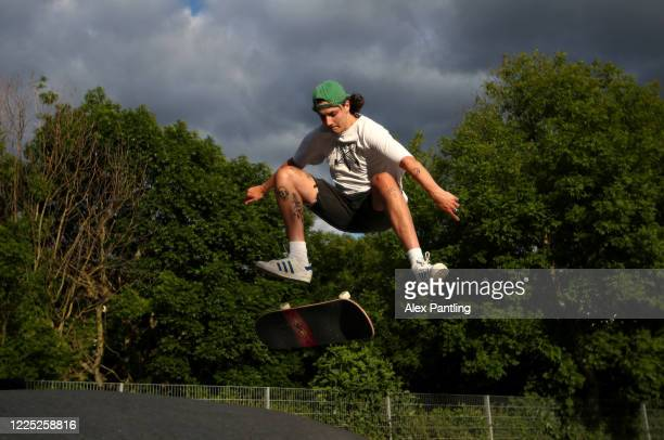 A skateboarder in action at Hackney Bumps Skatepark on May 16 2020 in London England The prime minister announced the general contours of a phased...