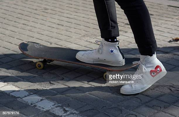 A skateboarder is seen wearing Converse shoes during 'Barcelona 080 Fashion Week' on February 2 2016 in Barcelona Spain