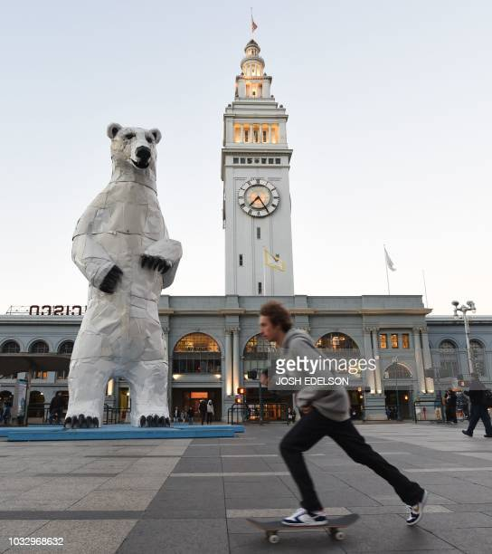A skateboarder passes by a polar bear statue made out of car hoods during the Global Climate Action Summit in San Francisco California on September...