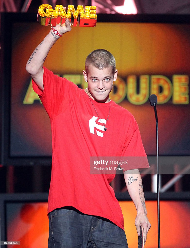 Skateboarder Ryan Sheckler speaks during the First Annual Cartoon Network's 'Hall of Game' award show at the Barker Hanger on February 21, 2011 in Santa Monica, California.