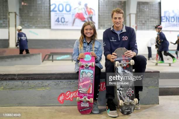 Skateboarder Sky Brown and Laureus Academy Member Tony Hawk pose during the Laureus Sport for Good Skateboard Visit prior to the 2020 Laureus World...