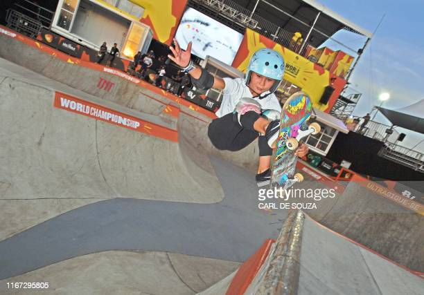 Skateboarder Sky Brown attends a second day of practice sessions at the World Park Skateboarding Championship in Sao Paulo on September 10 2019 Brown...