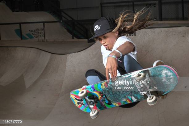 Skateboarder Sky Brown who is set at the age of 10 to compete at the 2020 Tokyo Olympics is photographed for the Telegraph on March 14 2019 in...