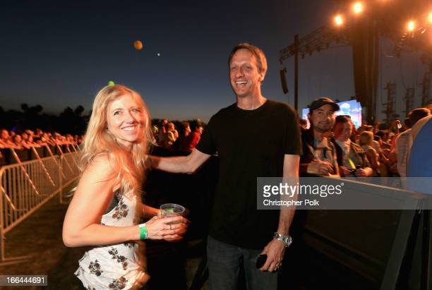 Skateboarder Tony Hawk and guest attend day 1 of the 2013 Coachella Valley Music Arts Festival at the Empire Polo Club on April 12 2013 in Indio...