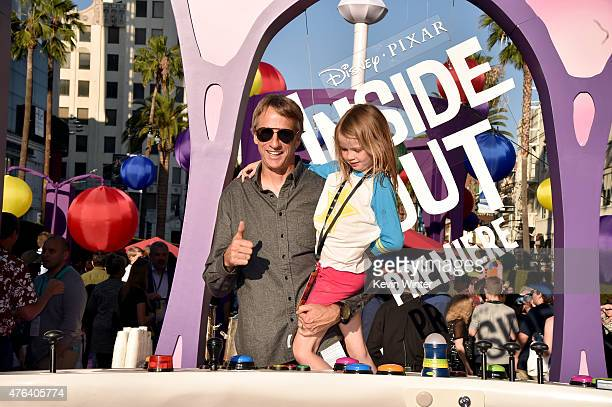 Skateboarder Tony Hawk and Kadence Clover Hawk attend the Los Angeles premiere of DisneyPixar's Inside Out at the El Capitan Theatre on June 8 2015...