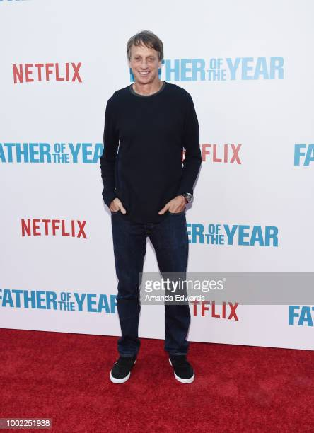 Skateboarder Tony Hawk arrives at a special screening of Netflix's 'Father Of The Year' at ArcLight Hollywood on July 19 2018 in Hollywood California